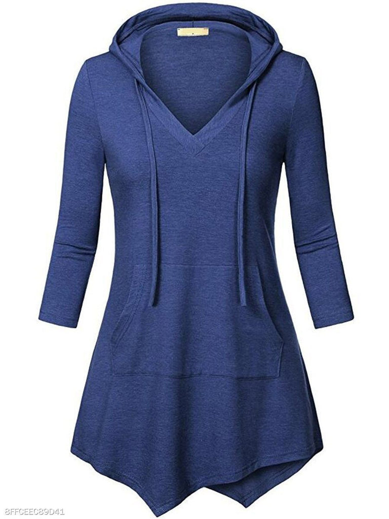 Asymmetric Hem Kangaroo Pocket Plain Long Sleeve Hoodie