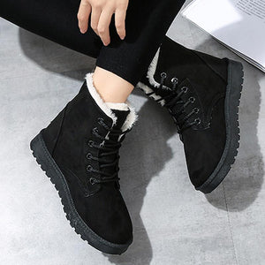 Casual Lined Lace-Up Snow Flat Heel Boots