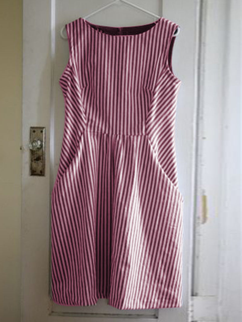 Women Casual Sleeveless Pockets Striped Midi Dress