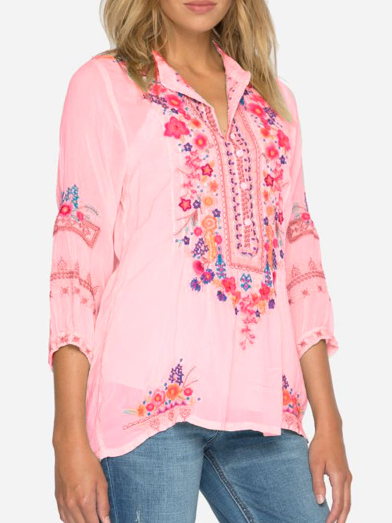 Women 3/4 Sleeve Stand Collar Embroidered Shirts & Tops