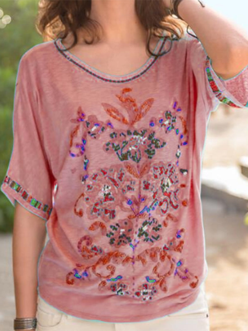 Women Casual Modal Floral Embroidered T-Shirts
