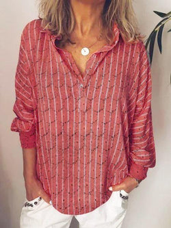 Striped Printed Long Sleeve V Neck Shirts & Tops