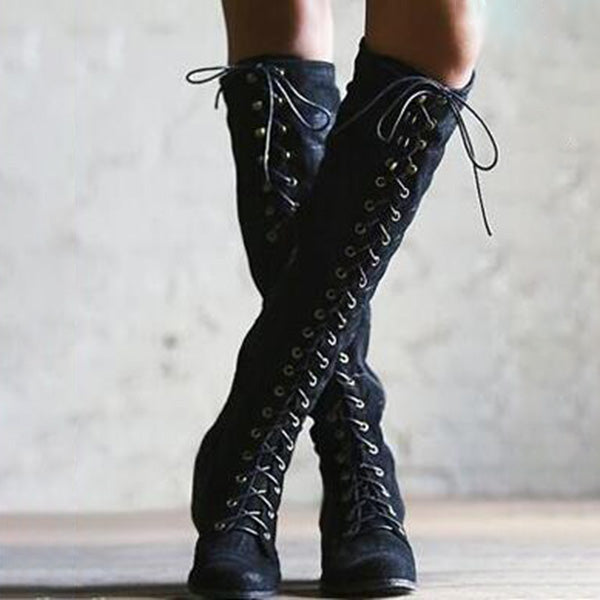 Casual Lace-up Rivet Chunky Heel High Boots