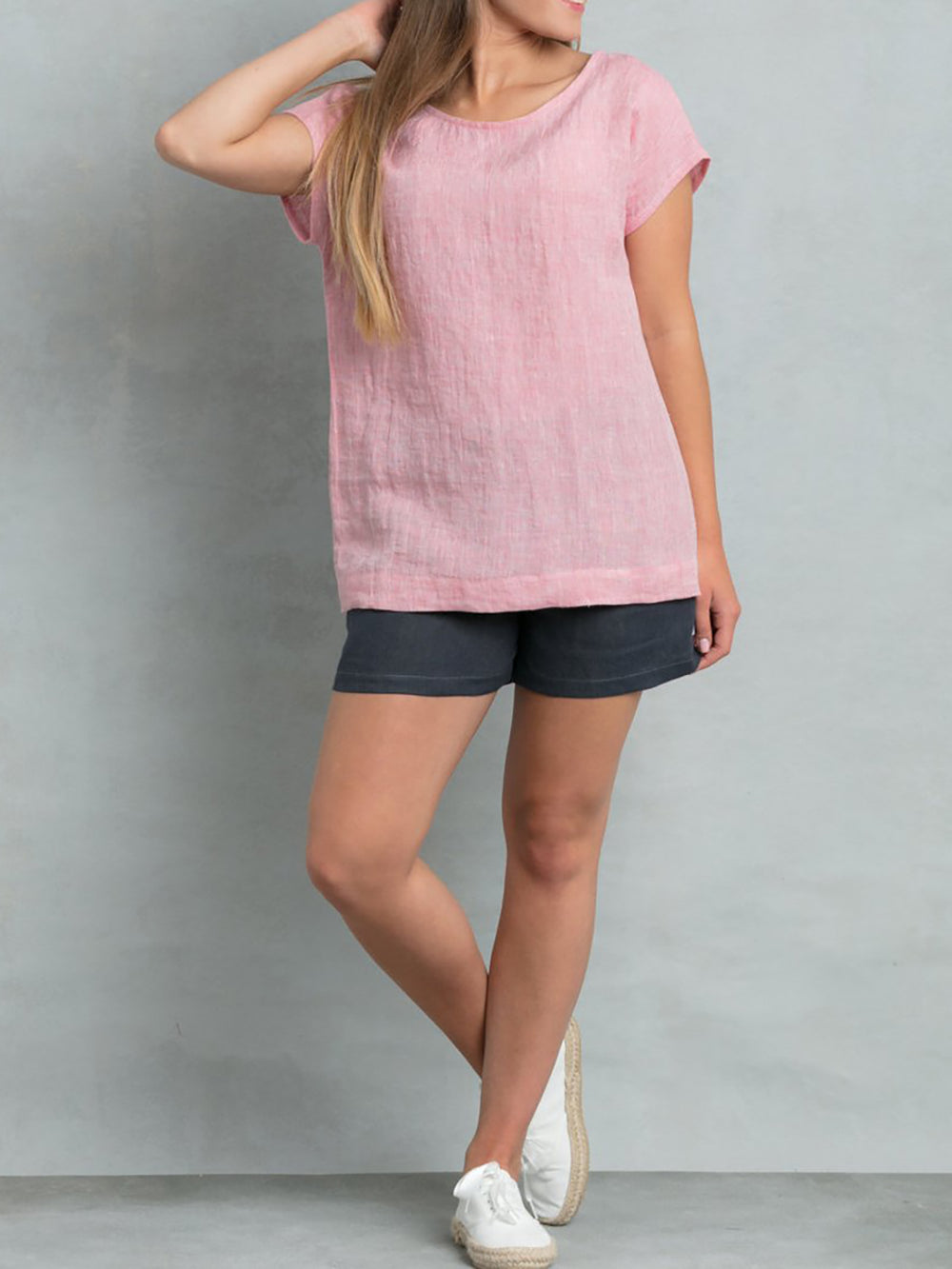 Casual Solid Short Sleeve Crew Neck Basic Simple Tops