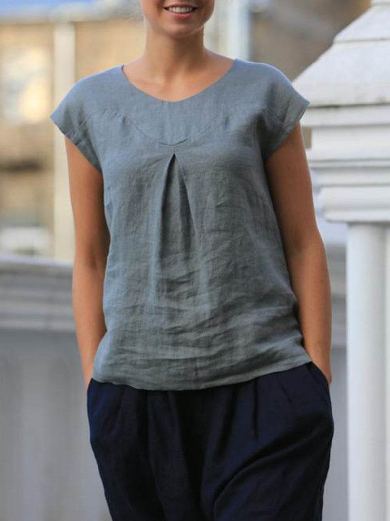 Casual Fold Solid Linen Short Sleeve Plus Size T-shirts