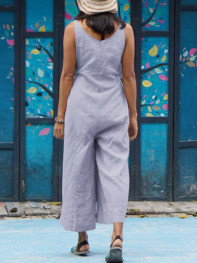 Women Shift Sleeveless Crew Neck Casual Jumpsuits