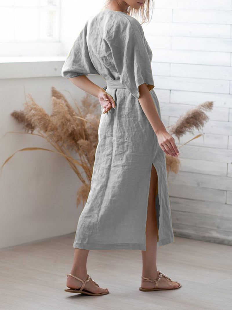 Women Casual Half Sleeve Cotton Solid Shift Dresses