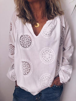 White Chiffon Long Sleeve Shirts & Tops