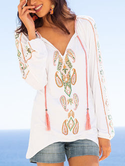 White Long Sleeve Boho Shirts & Tops