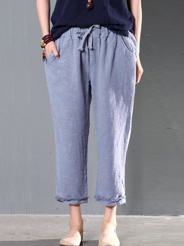 Women Casual Pockets Solid Pants