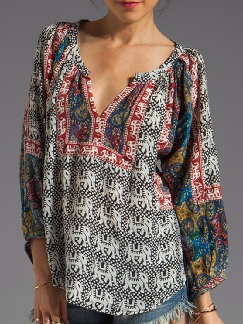 Women V Neck Floral Casual Short Sleeve Shirts & Tops