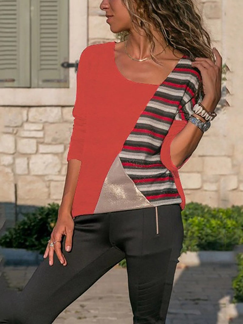 Casual Striped Printed Cowl Neck Long Sleeve Blouse Shirt