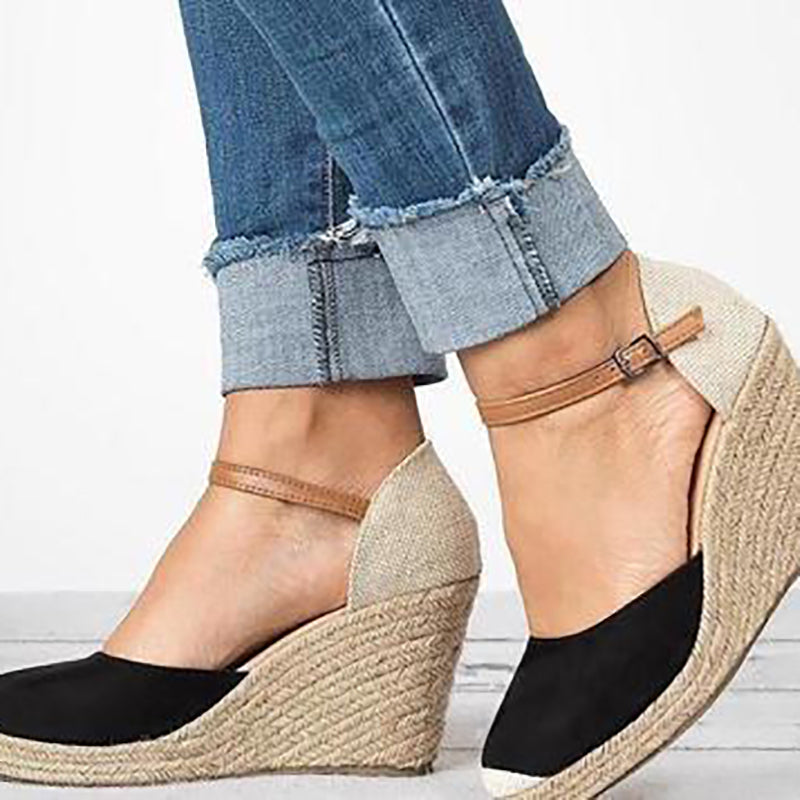 Solid Casual Wedge Heel Summer Daily Slip-On Sandals