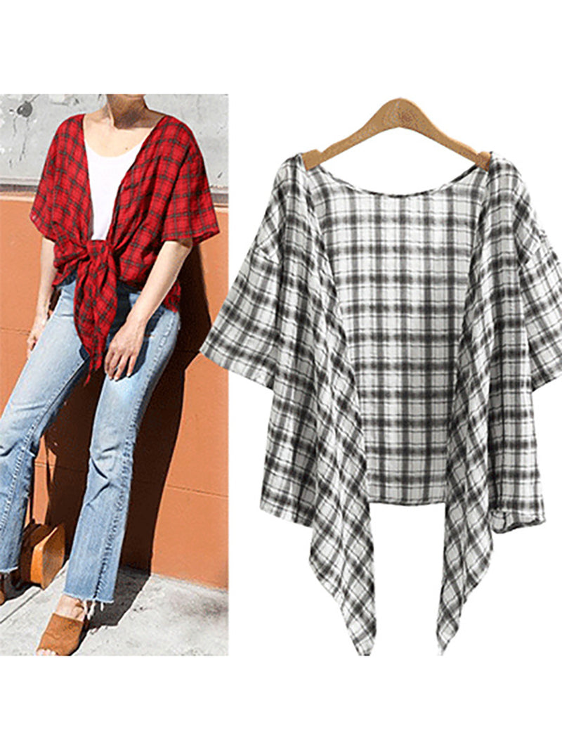 Women Plunging Neck Checkered/plaid Shift Short Sleeve Shirts