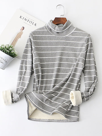 Basic Long Sleeve Casual Color-block Sweater