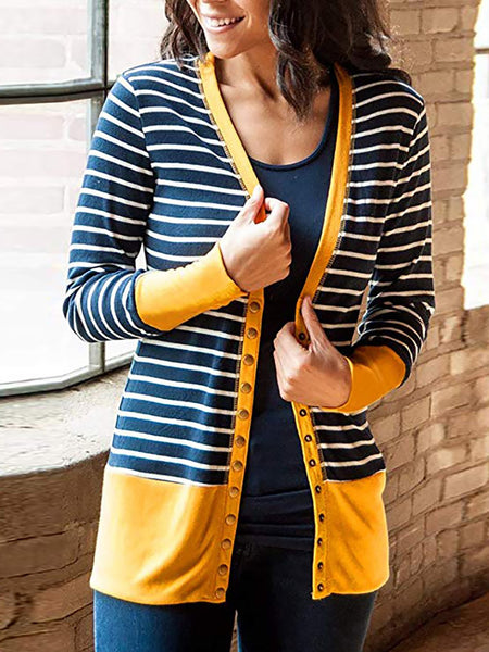 Casual Long Sleeve Stretchy Buttoned Cardigan