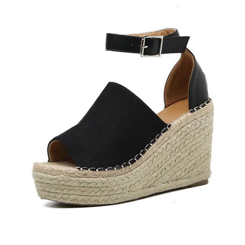 Summer Adjustable Buckle Wedge Heel Sandals