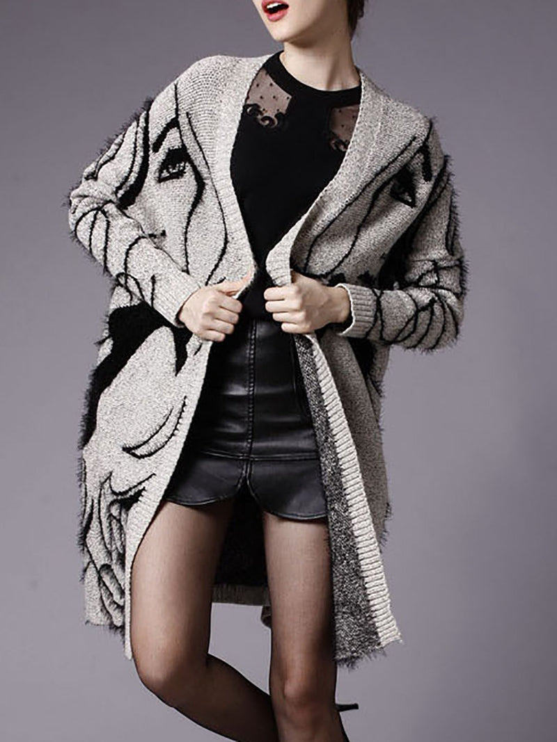 Casual Printed Long Sleeve Graphic Coat