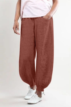 Women Summer Casual Linen Pockets Pants