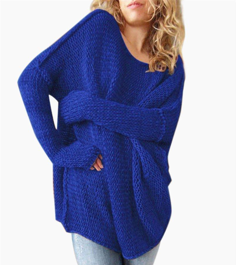 Boat Neck Casual Long Sleeve Pullover Sweater