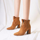 Chunky Heel Casual Lace-up Pointed Toe Boot