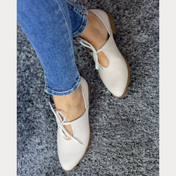 Pointed Toe Lace-Up Summer Low Heel Women Loafers