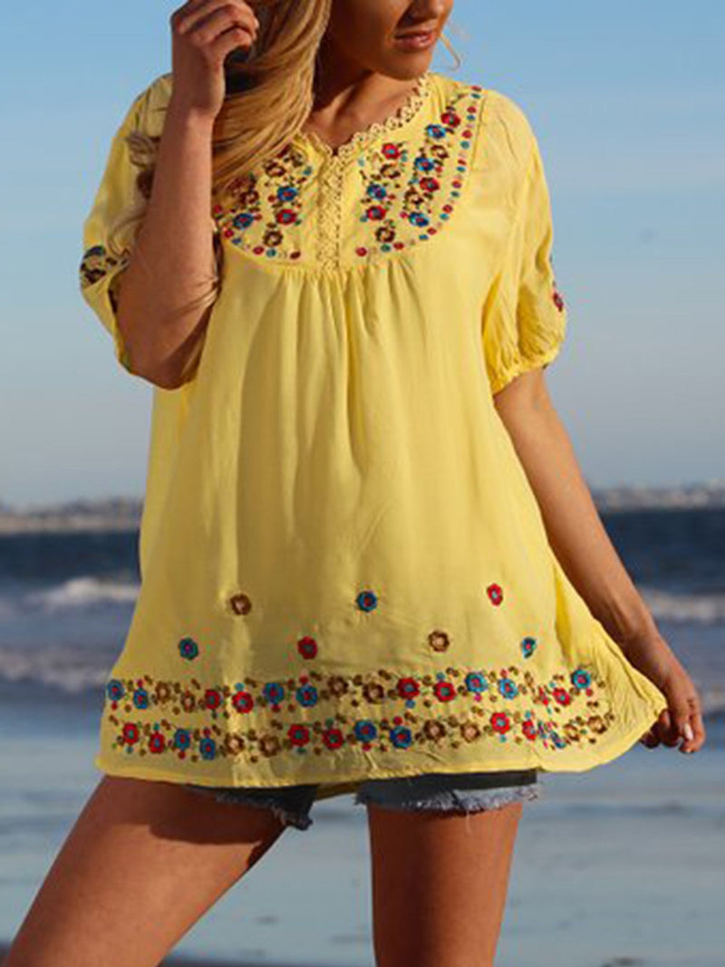 Women Summer Embroidered Casual Floral Shirts & Tops