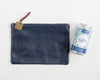 Fritz & Fräulein Medium Navy Pebble Leather Clutch with Vintage Tag