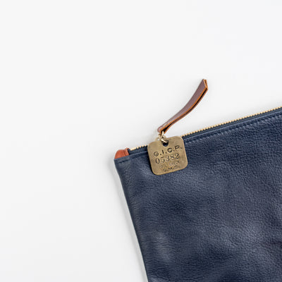 Fritz & Fräulein Medium Navy Soft Pebble Leather Clutch with Vintage Tag