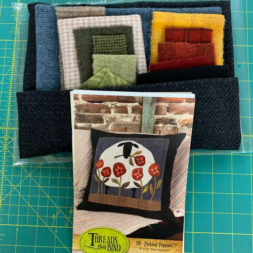Threads That Bind - Picking Poppies Wool Pillow kit