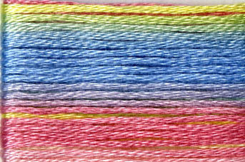 8077 Yellow Blue Pink Variegated Floss