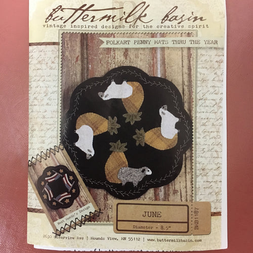 Buttermilk Basin Folkart Penny Mats Thru The Year Wool Kit - June/Sheep