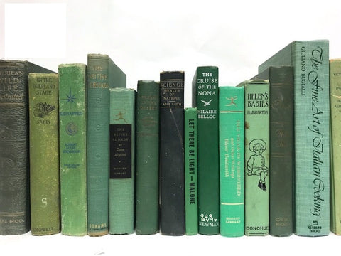 vintage green books by the foot and color