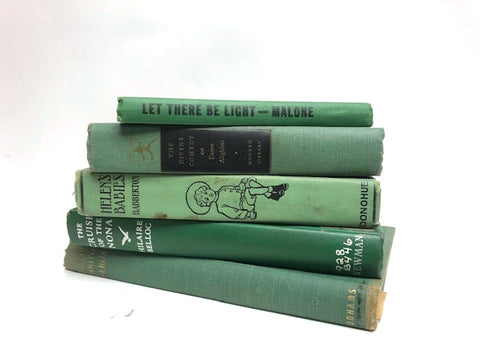 vintage green books by the foot and color 5 books