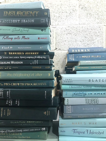 modern teal books by the foot and color sold by the book bundler