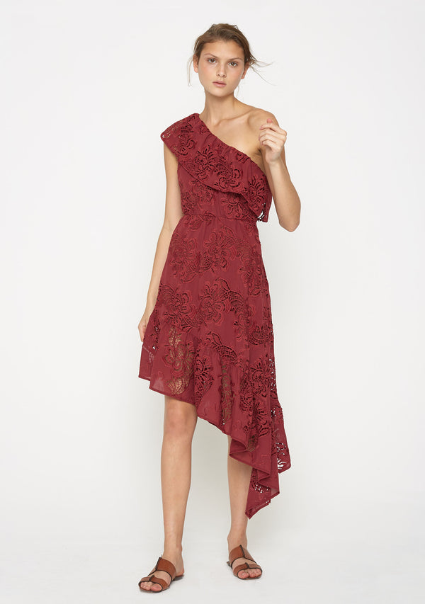 Bloom One Shoulder Dress Crimson Front