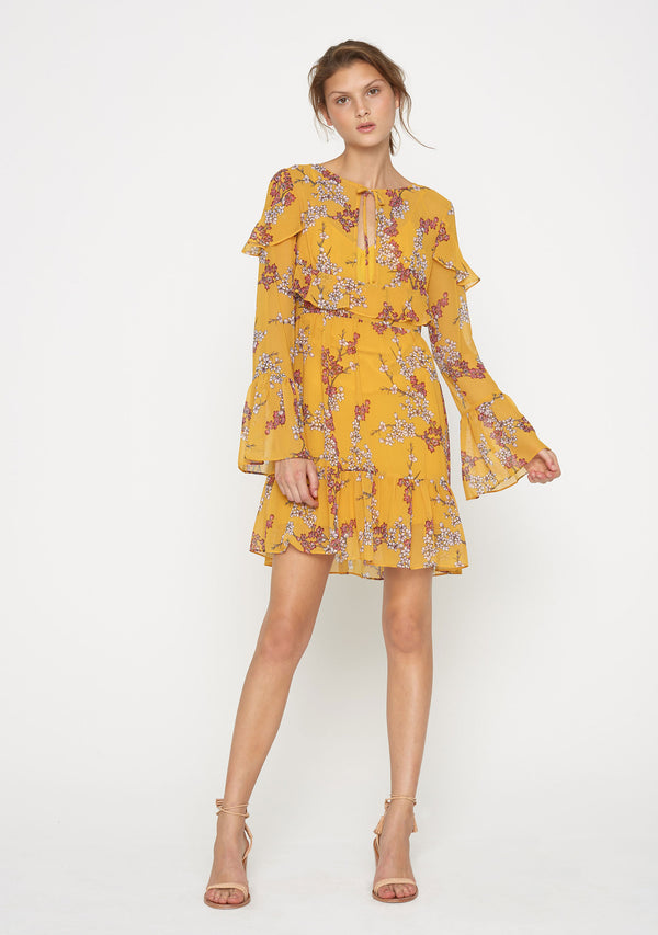 Golden Blossom Mini Dress