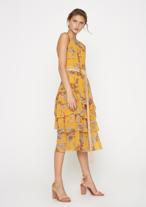 Golden Blossom Midi Dress