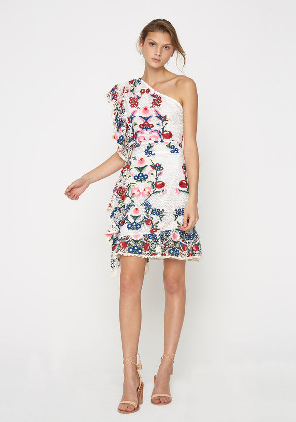 Melody One Shoulder Dress Floral Front