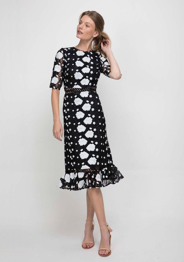Wildflower Midi Dress Black/White Front