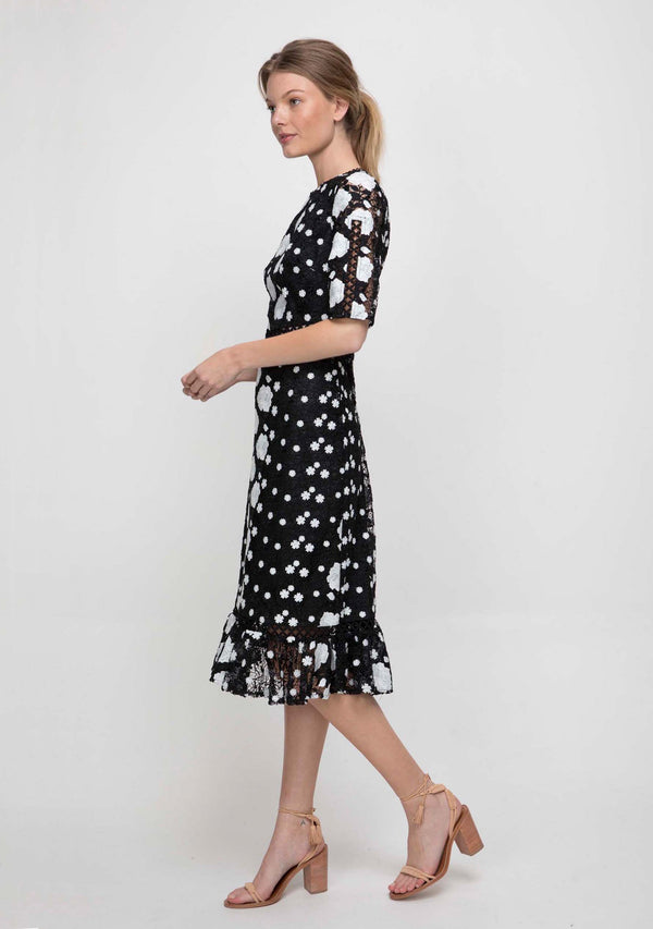Wildflower Midi Dress Black/White Side