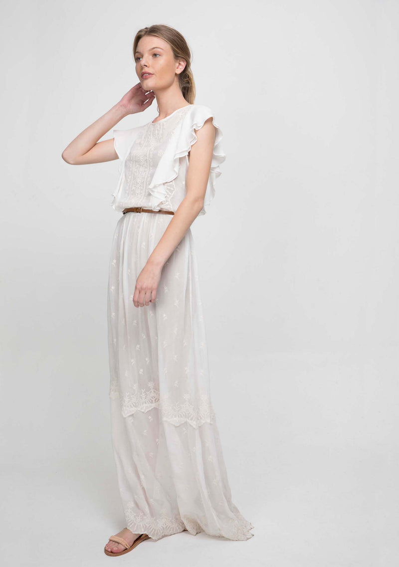 Marbella Maxi Dress Ivory Side