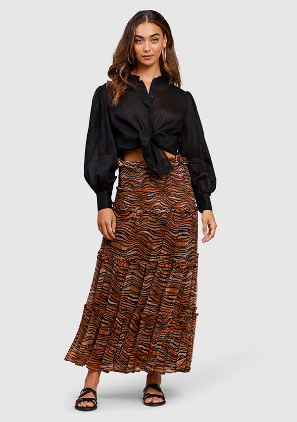 Tigress Smocked Maxi Skirt