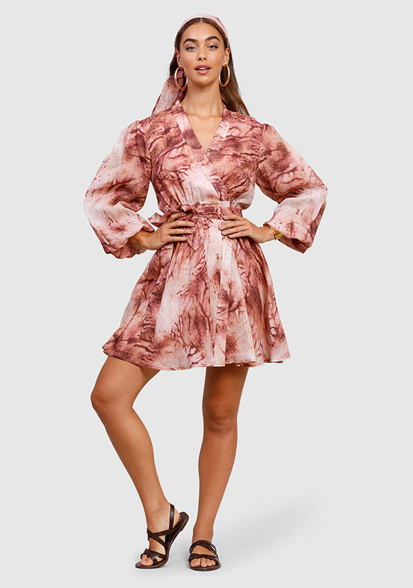 Vacay Tie-Dye Wrap Mini Dress