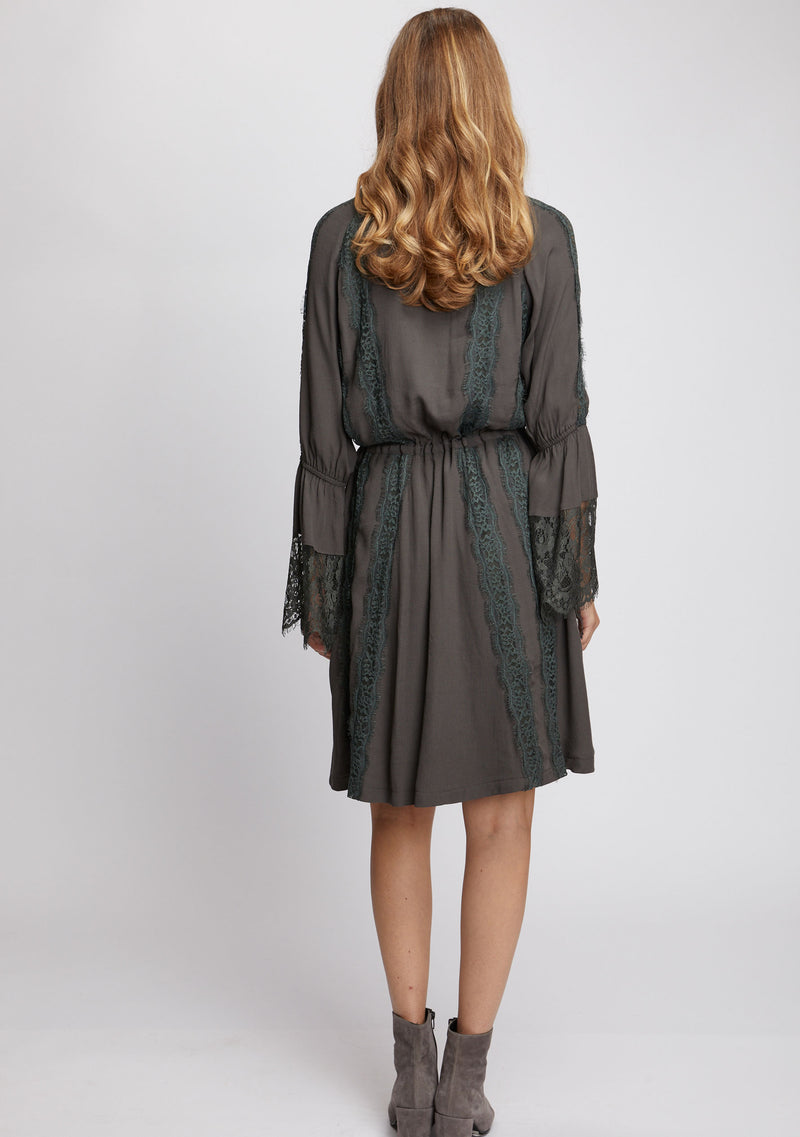 Ebony Long Sleeve Dress Olive Back
