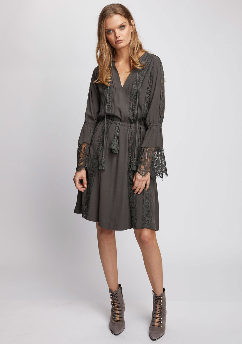 Ebony Long Sleeve Dress Olive Front