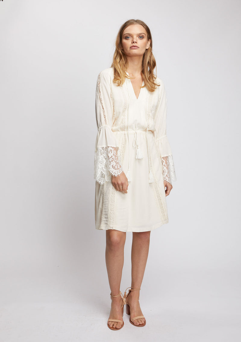 Ebony Long Sleeve Dress Ivory Front 1