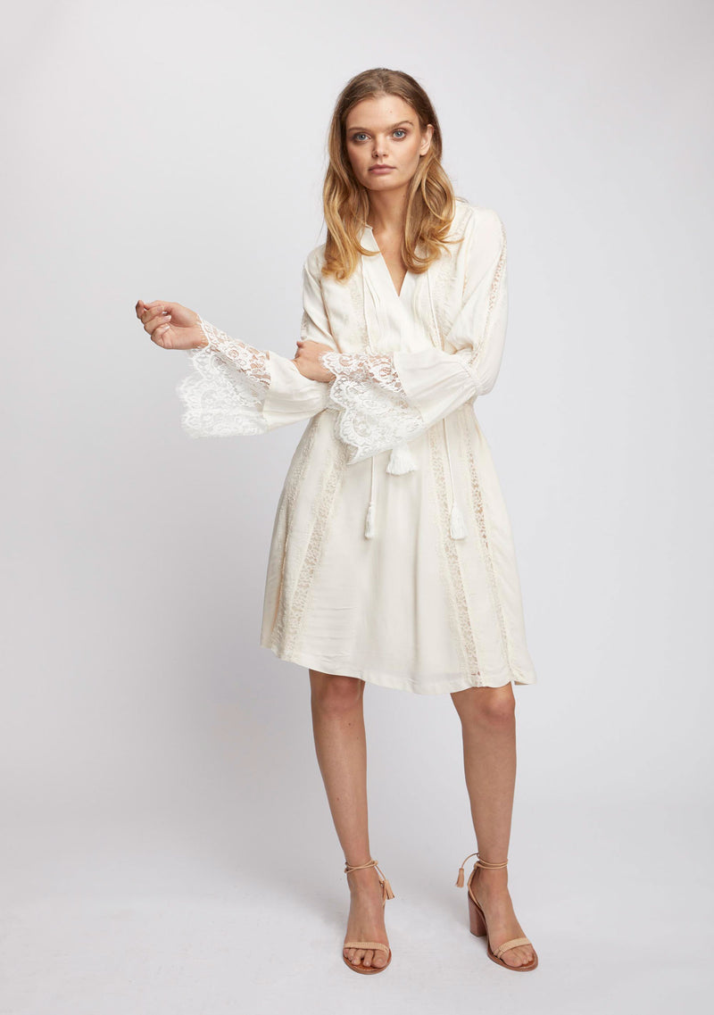 Ebony Long Sleeve Dress Ivory Front 2