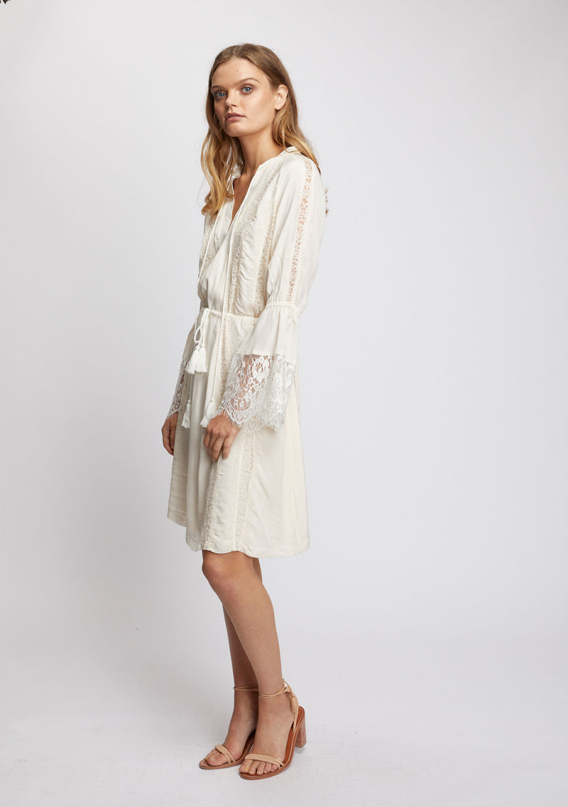Ebony Long Sleeve Dress Ivory Side