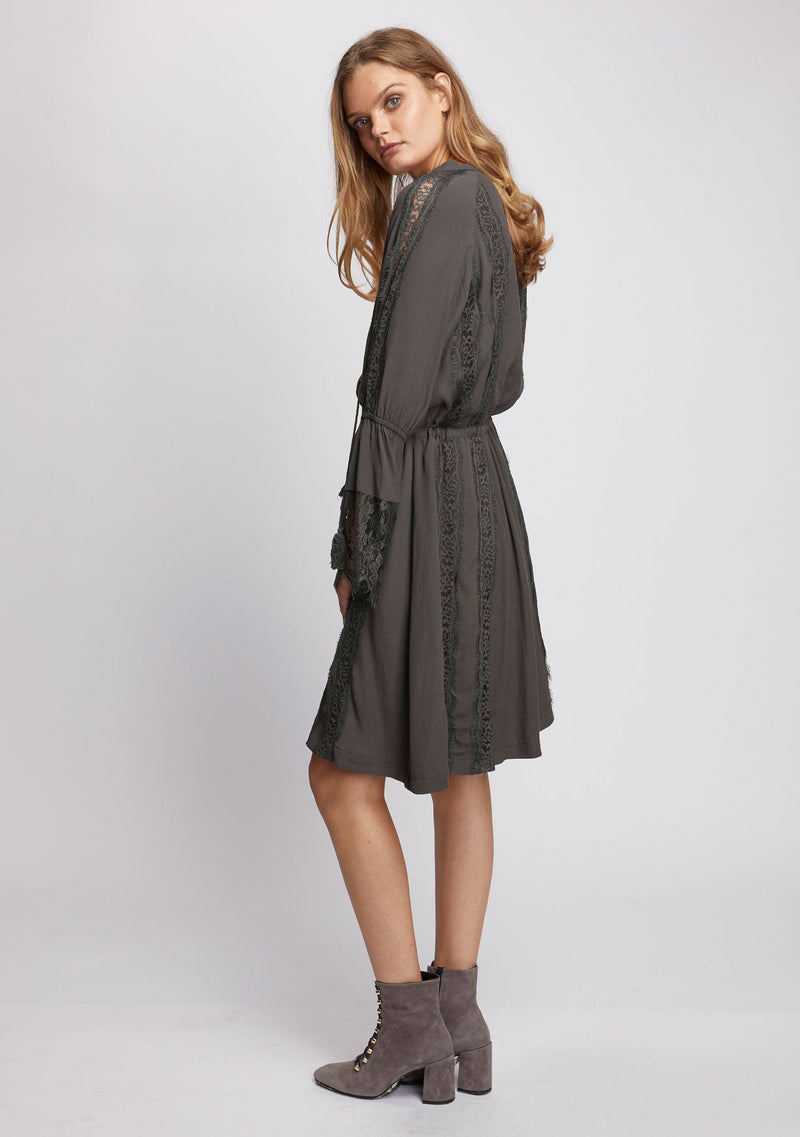 Ebony Long Sleeve Dress Olive Side